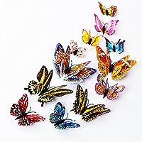 DaGou Mixed of 12PCS 3D Pink Butterfly Wall Stickers Decor Art Decorations¡