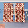 Philiphome Blackout Room Darkening Curtains Geometric Circles Rounds Vintage Retro Image on White Backdrop Scarlet Vermilion and Ruby Window Panel Drapes Grommet Top