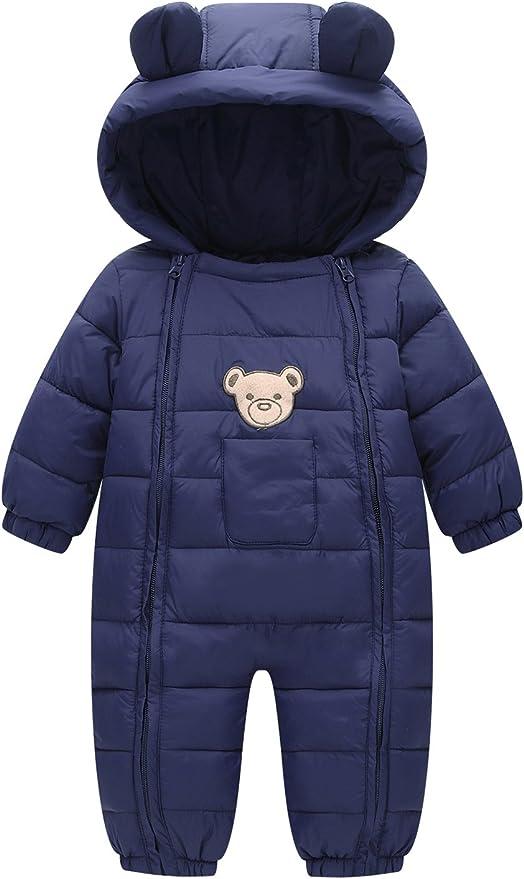 YOUBUY Baby Winter Warm Fleece Lined Jumpsuit Zipper Front One-Piece Snowsuit with Hood