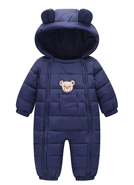 9c7577fbd237 Happy Cherry Baby Cotton Clothes Down Jacket Jumpsuits Infant Crawling  Clothes Dark Blue 3-9