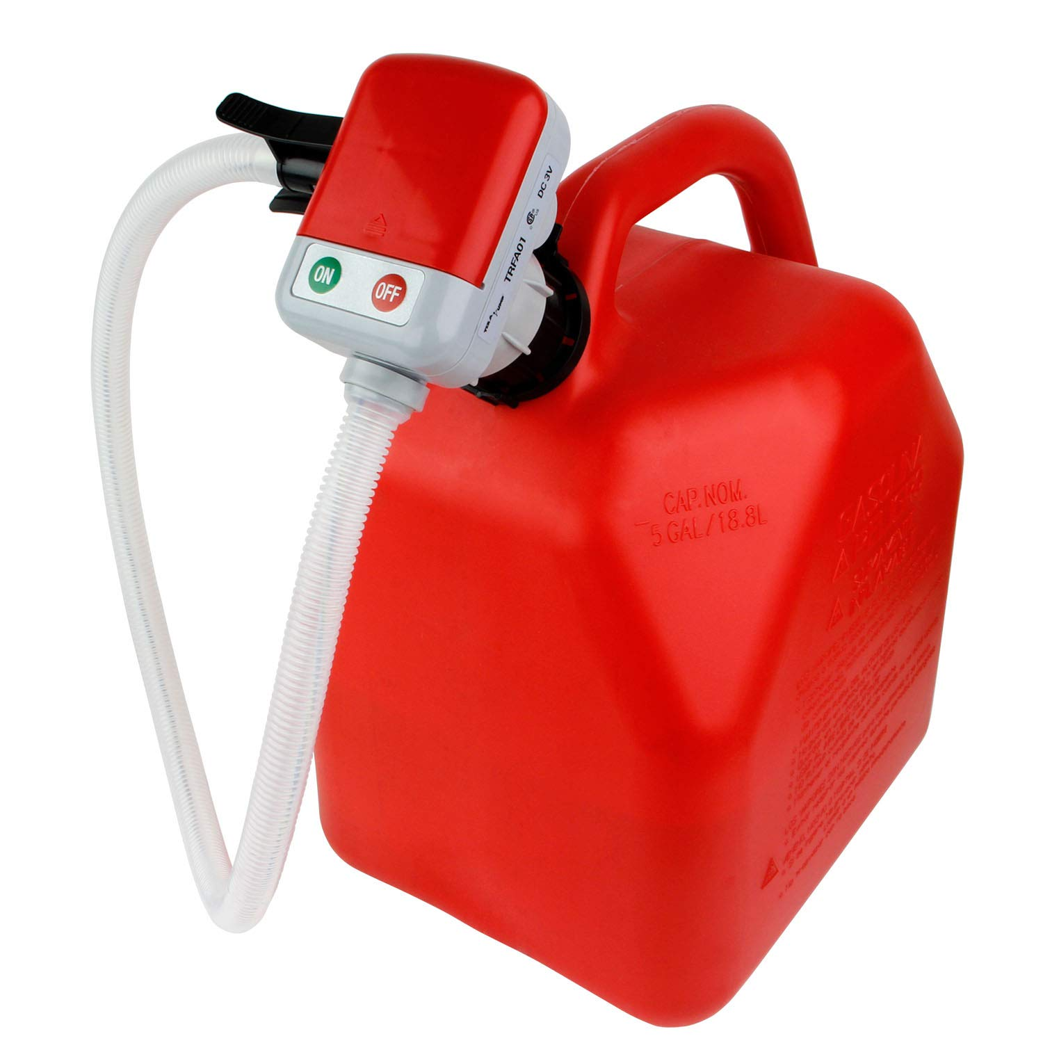 TERA PUMP TRFA01 4 AA Battery Powered Fuel Transfer Pump w/Flexible Intake Hose and No-Spill Auto-Stop Nozzle Attachable to Gas cans and More
