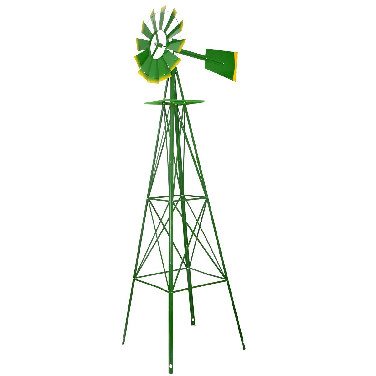 YU YUSING Windmills for The Yard, 8ft Steel Wind Mill Weather Vanes Metal Decoration Garden Ornamental Weather Resistant (8ft, Green)