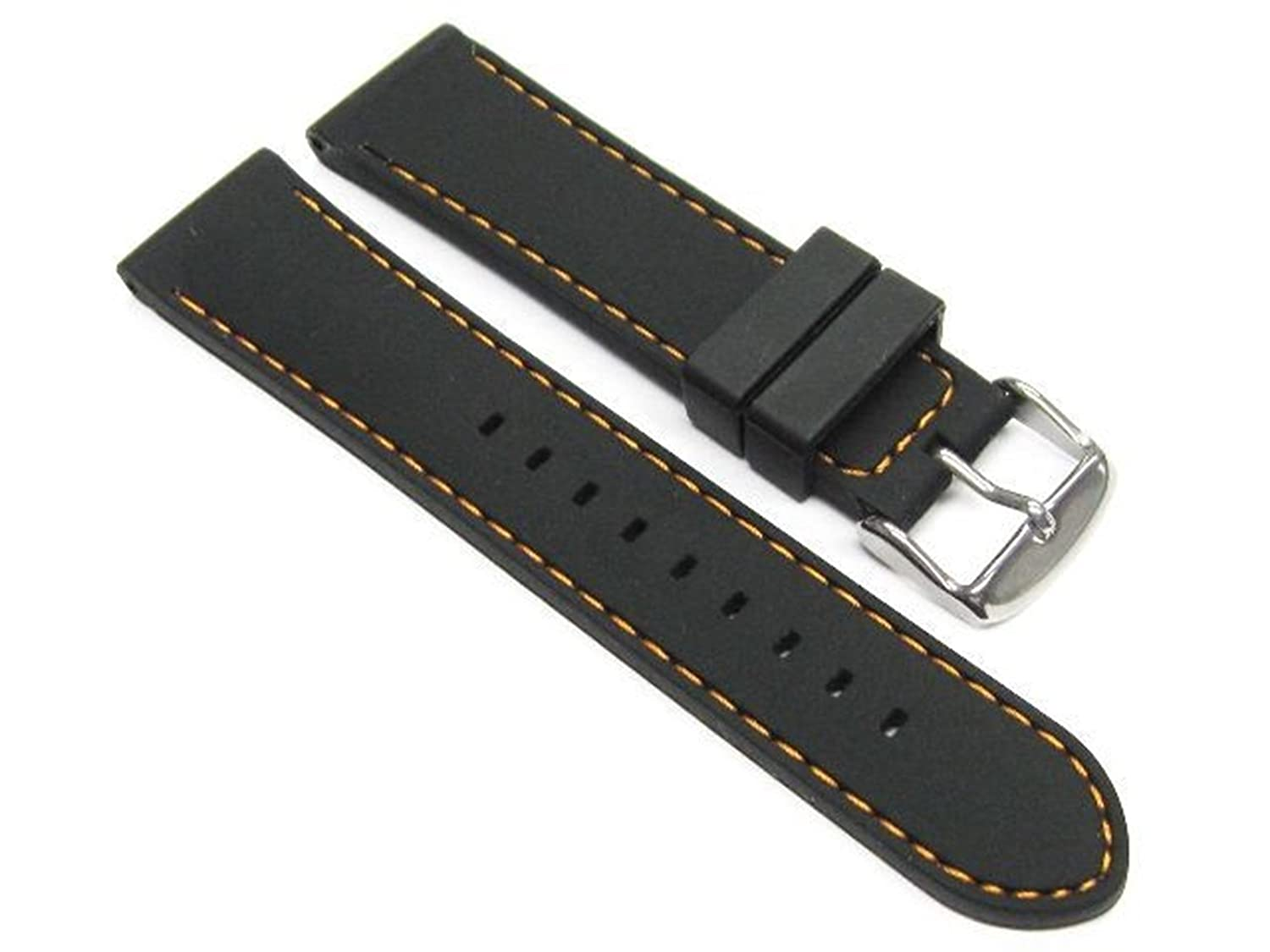22 mm Soft Rubber Band Diver Strap for GuessブラックOS 6p  B07D6PD9DQ