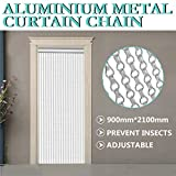 OrangeA Aluminum Metal Chain Curtain 84x35 Inch Silver Chain Curtain Fly Pest Insect Door Screen Curtain Control (Metal Chain Curtain)
