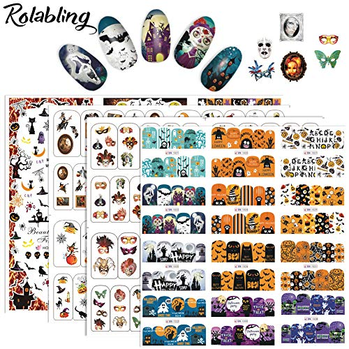 Rolabling Nail Sticker Kit Halloween Nail Decals Tattoo Nail Art Water Transfer Sticker Decal for Kids and Women 21 Sheets DIY Decoration Tools (Halloween set) for $<!--$6.99-->