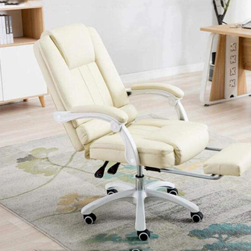 Skrivbordsstolar, kontorsstol spelstol ergonomisk hög rygg datorstol justerbar svängbar uppgift stol infällbar fotstöd fåtölj (färg: Grön) BEIgE