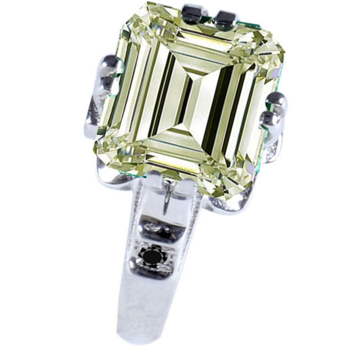 RINGJEWEL 3.70 ct VS1 Emerald Moissanite Silver Plated Engagement Ring Off White Color Size 7 by RINGJEWEL
