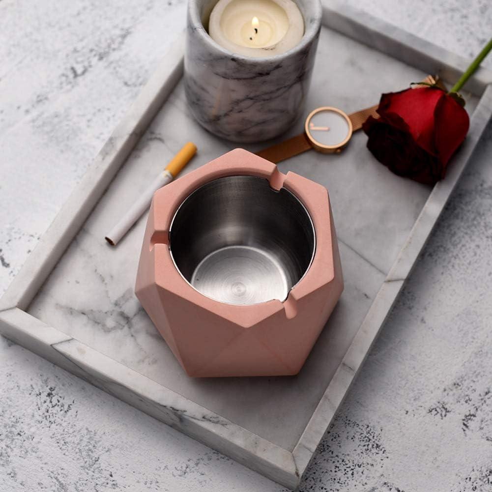AMITD Aschenbecher mit Deckel Polygon Zement,Kreativ Dekoration Wohnung Modern f/ür Innen Draussen Desktop Dekor Gro/ß,Gray