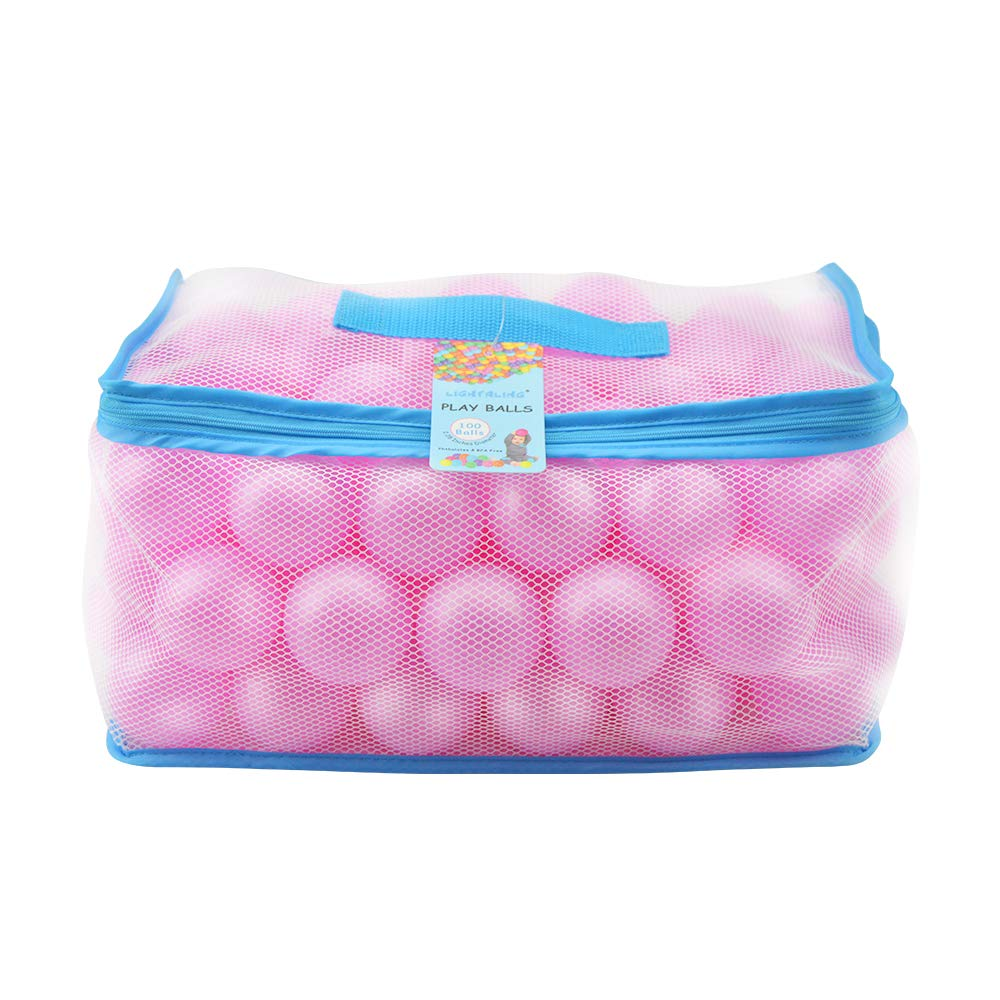 Lightaling 100pcs Pink Ocean Balls & Pit Balls Soft Plastic Phthalate & BPA Free Crush Proof - Reusable and Durable Storage Mesh Bag with Zipper