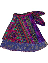 Wevez Wholesale Lot of 5 Art Silk Reversible Indian Wrap Magic 24 inches Skirts