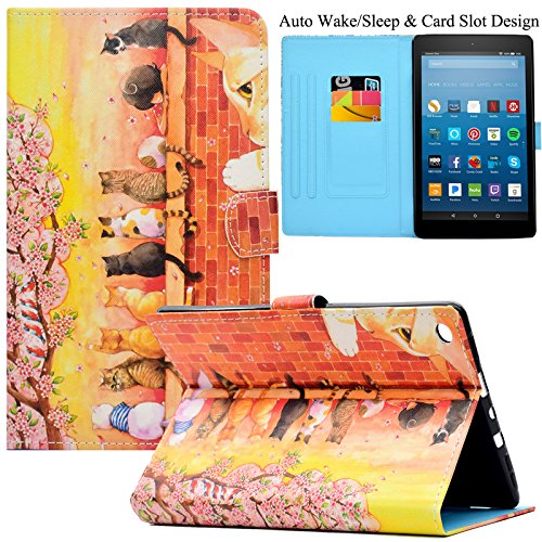 - Kindle Fire HD 8 Case,Artyond PU Leather Card Slot Cover [Anti-Slip Stripe] with Smart Magnetic Snap Auto Sleep/Wake Feature Protect Case for Amazon Kindle Fire HD 8 2016/2017 Release (Cats)