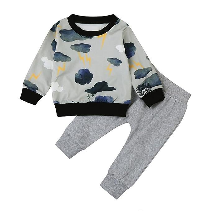 339cd6763 CMrtew Newborn Infant Baby Girl Boy Cloud Print Long Sleeve T Shirt Tops+Pants  Clothes