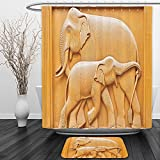 Vipsung Shower Curtain And Ground MatSculptures Decor Collection Carved Wooden Mother and Child Baby Elephants African Animals Artistic Design Ivory CreamShower Curtain Set with Bath Mats Rugs