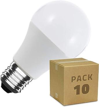LEDKIA LIGHTING Pack Bombillas LED E27 Casquillo Gordo A60 12W (10 un) Blanco Frío 6000K - 6500K: Amazon.es: Iluminación
