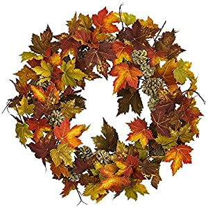 "Nearly Natural 24"" Maple and Pine Cone Wreath Multi/Color 82"