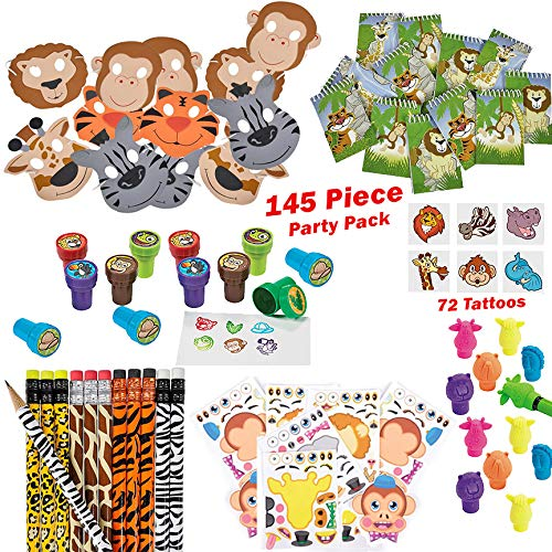 Zoo Animal Party Favors Everything You Need: Party Favors Safari Birthday Pack Toys for Boys and Girls Games 144 Piece Jungle Theme Party Supplies for 12 Kids