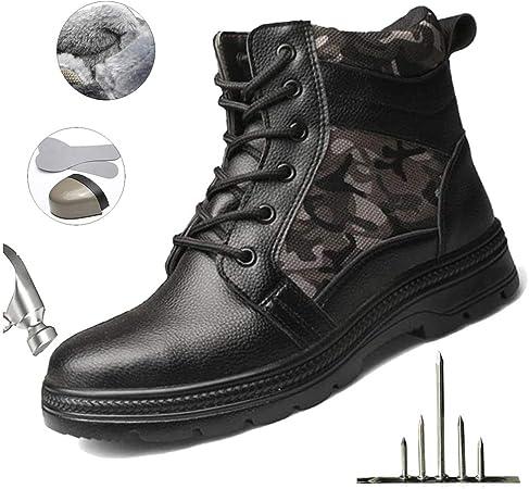 HOAPL Zapatos Seguridad Hombre Invierno Warm Botas Punta Acero Zapatos Anti-Piercing Calzado Botas Casuales la Motocicleta Calientes,8.5: Amazon.es: Hogar