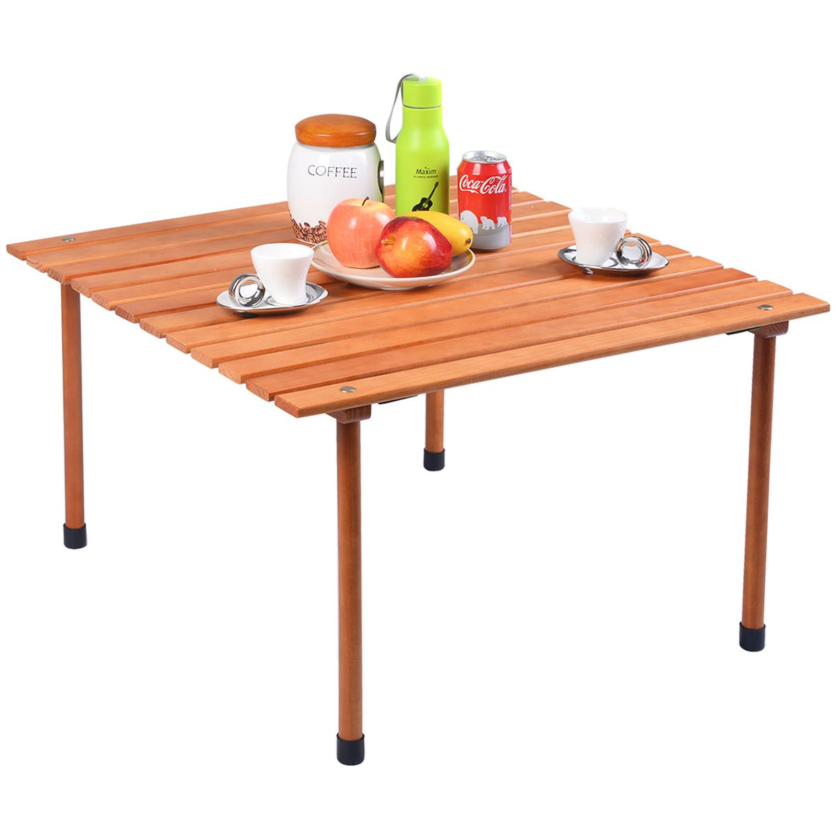 COSTWAY Wood Roll Up Portable Table for Outdoor Camping, Picnics, Beach w/Carrying Bag