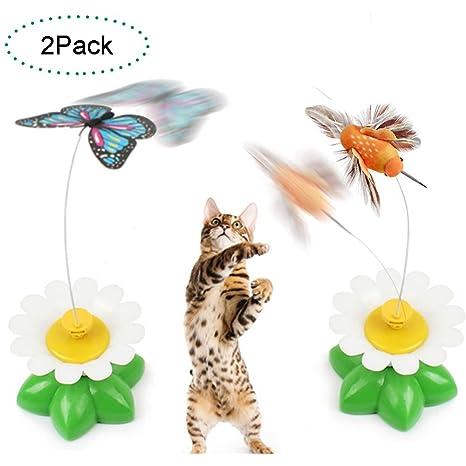 Creación Set de 2 eléctrico Pole Mariposa Interactive Juguete para Gato/Gatito Catching, Jugar