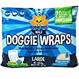 Bodhi Dog Disposable Dog Male Wraps | 20 Premium Quality Adjustable Pet Diapers with Moisture Control and Wetness Indicator | 20 Count Large Size