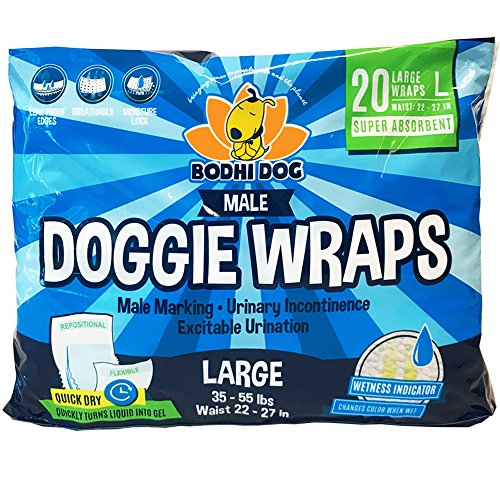 Bodhi Dog Disposable Dog Male Wraps | 20 Premium Quality Adjustable Pet Diapers with Moisture Control and Wetness Indicator | 20 Count Large Size by Bodhi Dog