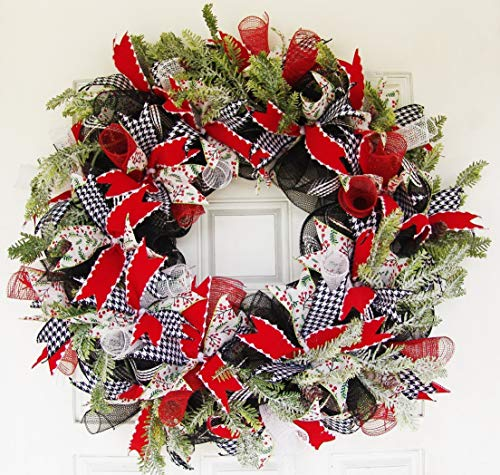 CLEARANCE XL Christmas Winter Front Door Deco Mesh Wreath Country Farmhouse Evergreen ModernHandmade Hand Crafted