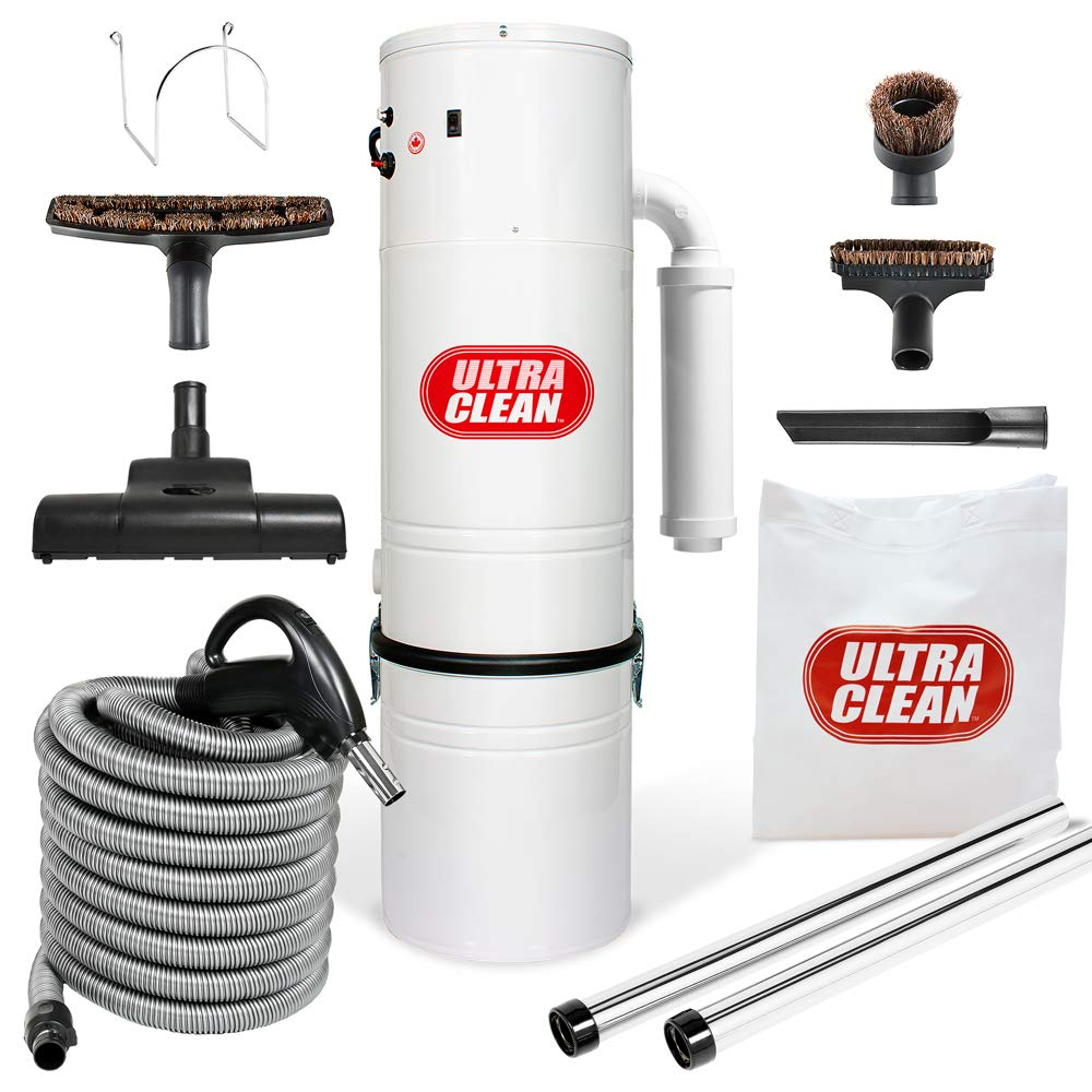 Ultra Clean Central Vacuum Unit 7,500 sq. ft. Air Turbo Power Nozzle 30 foot ON/OFF Control Switch Hose & Set of Wands SC200