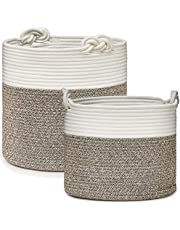 Set of 2 Cotton Rope Baskets with Lucky Knots Handles, Woven Storage Basket Bin for Laundry, Toys, Blankets, Plant Pot