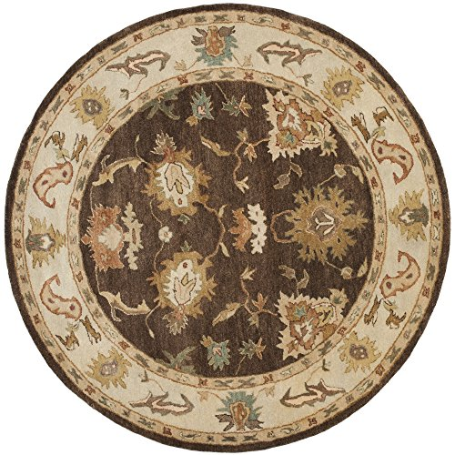 Safavieh Bergama Collection BRG136B Handmade Brown and Ivory Premium Wool Round Area Rug (8' Diameter)