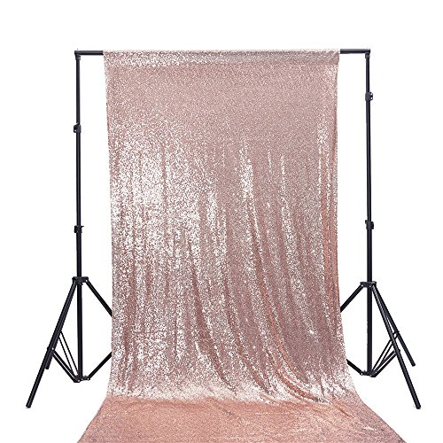 Zdada 4Ft W by 7.5FT H Sparkly Rose Gold Sequin Backdrop Curtain for Wedding Halloween Thanksgiving Day Christmas