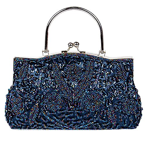 Party Clutch Sequin Evening Flora Retro Satin Purse EPLAZA Handbags Blue Bags Beaded Women 1zEqB