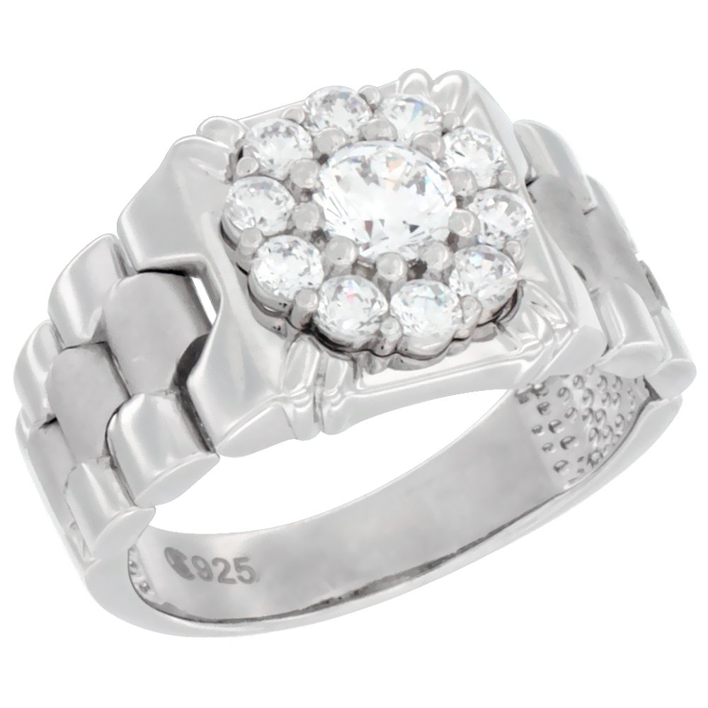 Mens Sterling Silver Square Ring with Clustered Cubic Zirconia Stones 1/2 inch wide, size 11