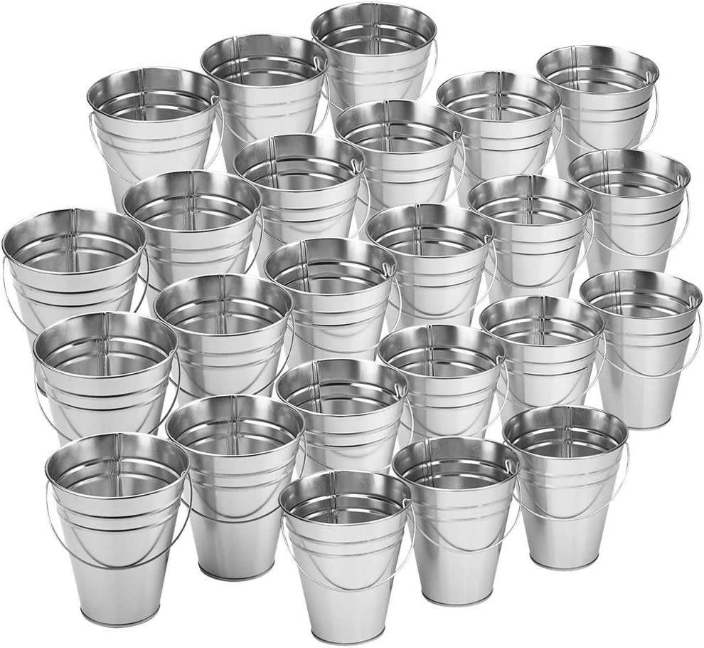 Kicko 24 - Pack Large Galvanized Metal Buckets with Handles 5 X 4.5 Inches - Unique Goody Baskets, Party Favors, Party Accessories and Decorations