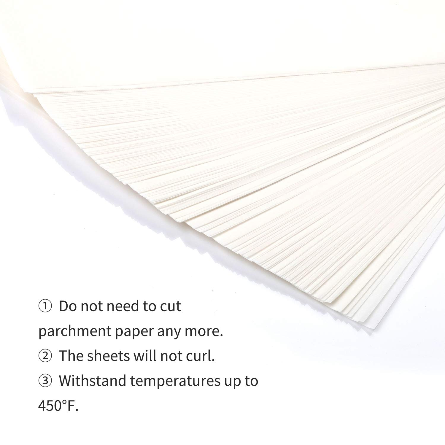 200-Pcs Parchment Paper Baking Sheets, SMARTAKE 12x16'' Non-Stick Precut Baking Parchment, Perfect for Baking Grilling Air Fryer Steaming Bread Cup Cake Cookie and More (White) by SMARTAKE (Image #4)