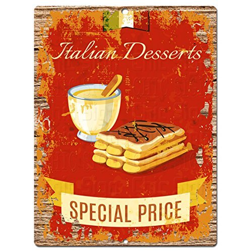 "Italian Desserts Rustic Shabby Vintage style Retro Kitchen Bar Pub Coffee Shop Wall Decor 8""x12"" Metal Plate Sign Home Store Decor Plaques"