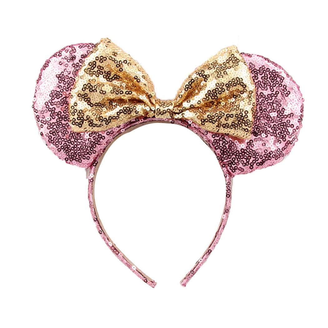Cute Mickey Mouse Ears Headband Butterfly Glitter Hairband For Girls