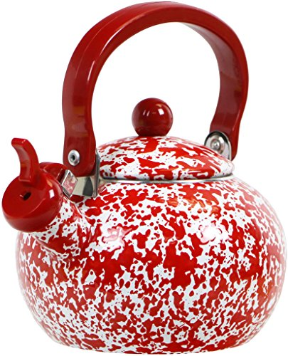 Calypso Basics by Reston Lloyd Whistling Teakettle, 2 quart, Red Marble