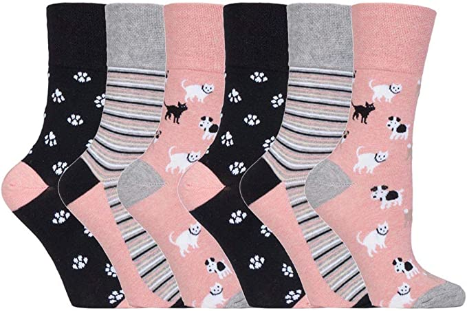 6 paia Ladies SockShop Cotton Gentle Grip EUR 37-42 UK 4-8 Calze