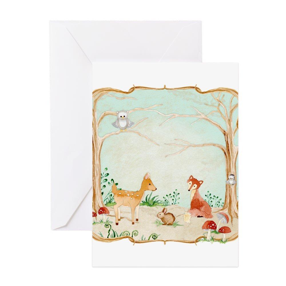CafePress - Woodland Creatures Animals Deer Fox Rabbit Owl Art - Greeting Card, Note Card with Blank Inside Matte