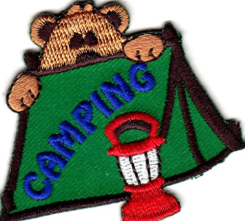 """CAMPING"" Iron On Patch Scouts Camp Cub Boy Girl Trip Camper AE"