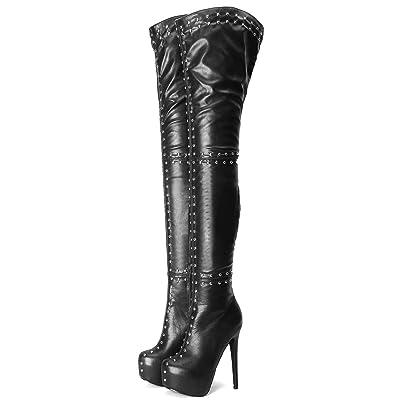 Kitulandy Womens Over The Knee Boots Platform Thigh High Shoes High Heels Rivet Booties