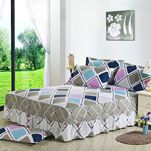 "TheFit Bed Skirt Cotton Multi Color 22, 1 Pcs Bed Skirt, Twin Full King Queen Size 18"" Drop (Twin)"