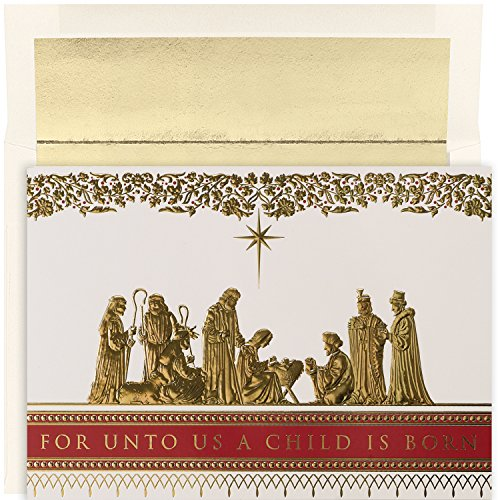 Nativity Scene Card Christmas (Masterpiece Studios Holiday Collection 16 Cards / 16 Foil Lined Envelopes, Manger Scene)