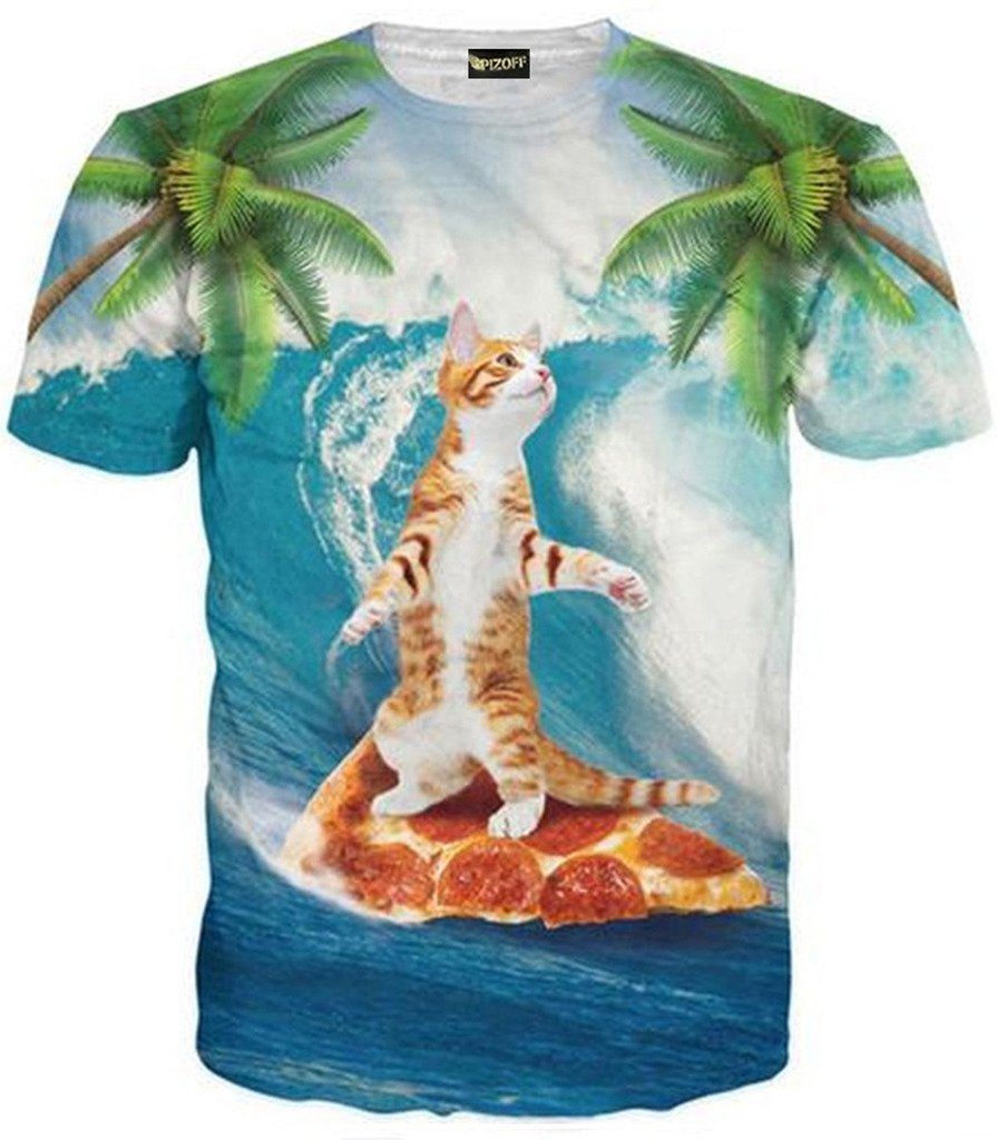 Pizoff Mens Womens Casual Short Sleeve Crew Neck 3D Digital Cute Cat Stand in Pizza Print T Shirts Summer Tops Y1625-89-XL