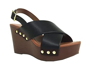 fab7ac5891f City Classified Comfort Redwood! Women s Crisscross Strap Polished Studs  Midsole Wedge Sandals
