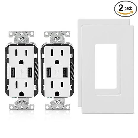 Amazon.com: 2 paquetes de receptáculos dobles/cargador USB ...