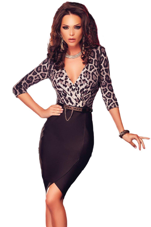 New Ladies Leopard & Black Wrap Bodycon Midi Dress Club Wear Evening Party Special Occasion Size Fits 10-12