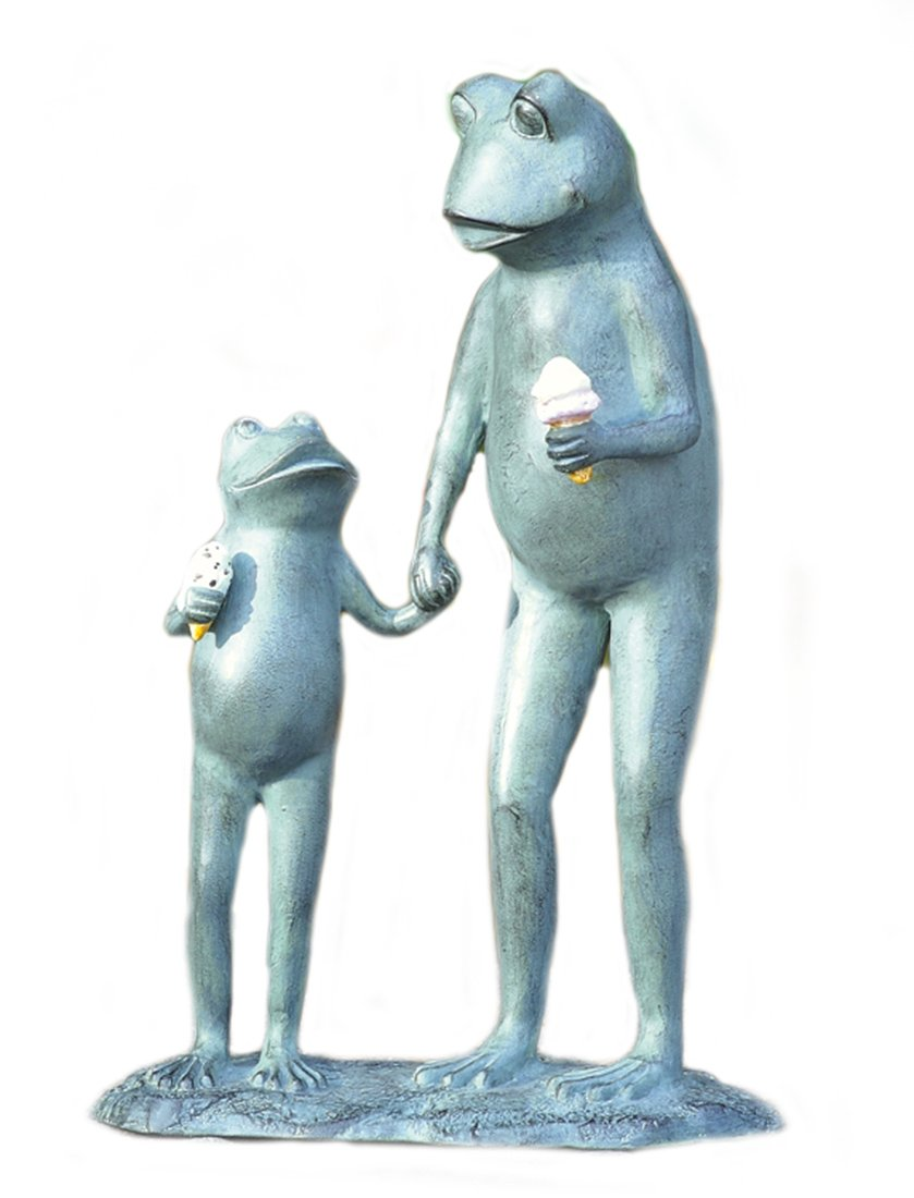 Summertime Treat Frog Parent and Child Aluminum Garden Sculpture