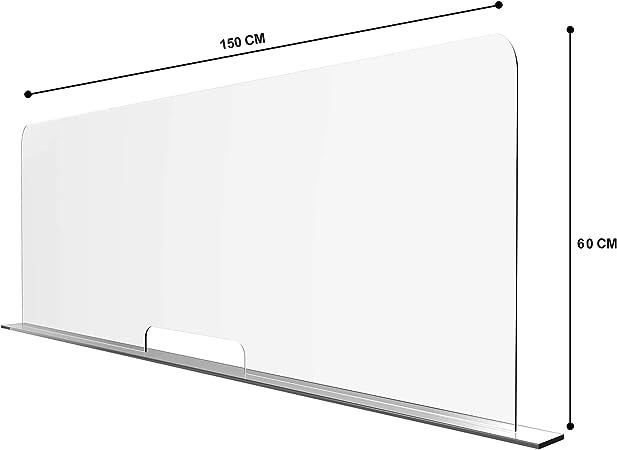 Solarplexius Mamparas de Protección, Escudo de Acrílico Transparente Plexiglass para Mostradores y Ventillas de Transacciones, Protección contra Estornudos y Tos (150 x 60 cm): Amazon.es: Hogar