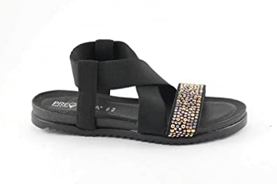 Pregunta IG8971 femme noire Chaussures sandale en cuir paillettes élasti Nero - Chaussures Sandale Femme